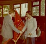 В.Гуляев и А.Лосев с переходящим Красным знаменем